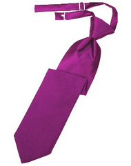 Fucshia Solid Satin Long Tie