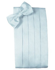 Light Blue Solid Satin Cummerbund