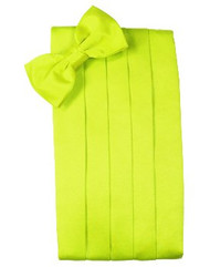Lime Solid Satin Cummerbund