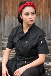 Women's Black Short Sleeve Chef Coat