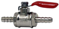 "Quality chrome plated brass shut-off/ball valve with 1/4"" barbs.  For either beer or gas line/tubing."