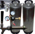 Kegging eqipment pack, ball lock kegs, CO2 regulator and Italian made tap.