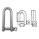 Shackle D Long Stainless Steel 12mm