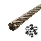 Wire Rope 7x19 5/64inch 316 Grade Stainless Steel per metre