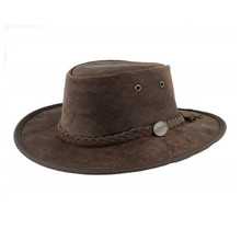 Barmah Leather Bronco Hat Brown L