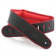 """DSL 2.5"""" Padded Garment Black/Red Guitar Strap"""