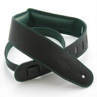 """DSL 2.5"""" Padded Garment Black/Green Guitar Strap"""
