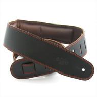 "DSL 2.5"" Padded Garment Black/Brown Guitar Strap"