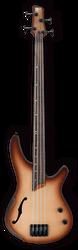 Ibanez SRH500F Fretless Hollowbody Bass Natural Browned Burst Flat