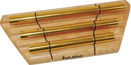 Tycoon Percussion TEC-3G 3 Gold Plated Chimes on Siam Oak Bar with Beater