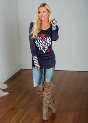 All You Need Is Love Arrow Top Charcoal CLEARANCE