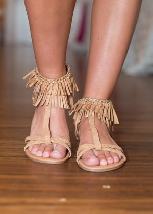 Here Comes the Sun Toffee Sandals CLEARANCE
