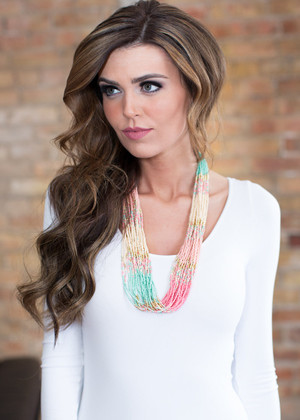 Sherbet Ombre Beaded Necklace CLEARANCE