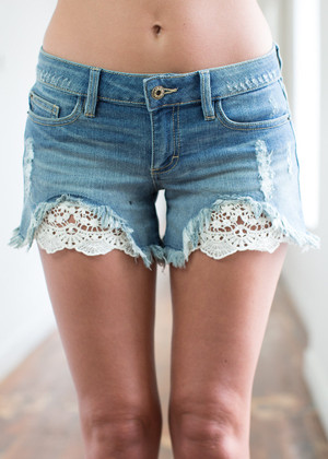 A Touch of Lace Denim Shorts