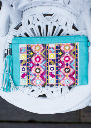 Colorful Embroidered Glitz Clutch Turquoise CLEARANCE