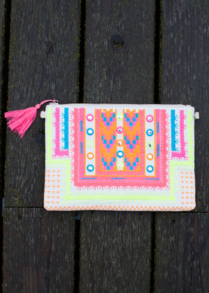 Embroider Me Mine Neon Clutch Beige CLEARANCE