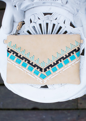 Cherokee V Weave Clutch Beige CLEARANCE