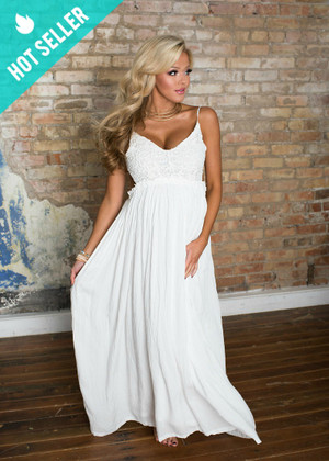 To Have and to Hold Lace Maxi Dress White CLEARANCE