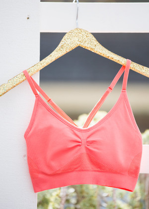 Ruched Sports Bra Melon CLEARANCE