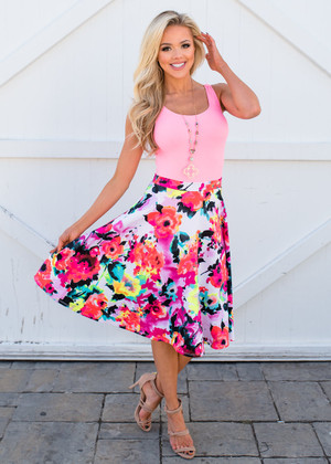 Water Color Floral Midi A-Line Flowy Skirt Neon Coral