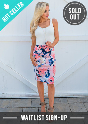 Office Hours Watercolor Floral Pencil Skirt Blush