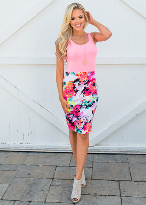 Office Hours Watercolor Floral Pencil Skirt Neon Coral/Yellow CLEARANCE