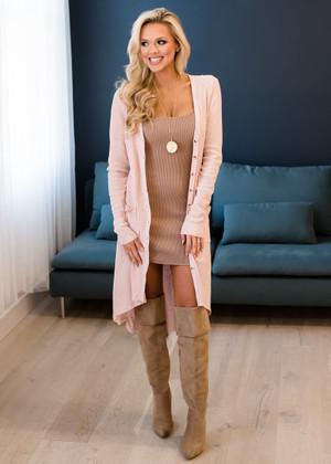 Modern Chic Long Pocket Cardigan Blush