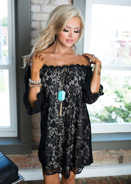 f839ec33fe74 Be Seen Off the Shoulder Lace Dress Black - Modern Vintage Boutique