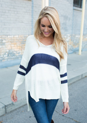 Tongue Tied Oversized Striped Sweater Ivory CLEARANCE