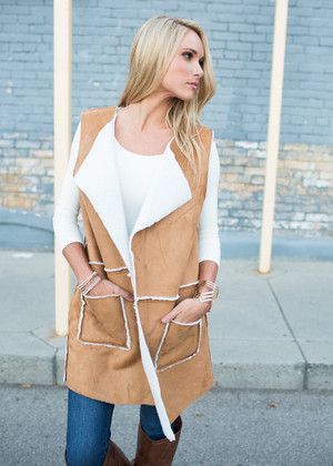 Perfect Long Staple Vest Camel CLEARANCE