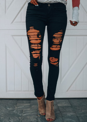 Destroyed and Distressed Black Skinny Jeans CLEARANCE