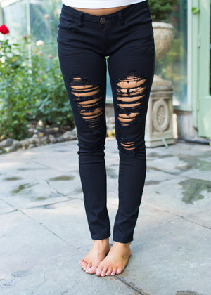 Distressed Black Skinny Jeans CLEARANCE