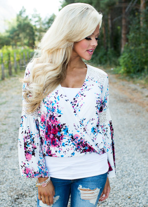 Listen To Your Heart White Floral Blouse