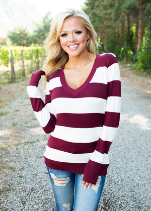Perfect For Fall Striped Sweater Burgundy