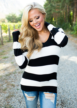 Perfect For Fall Striped Sweater Black