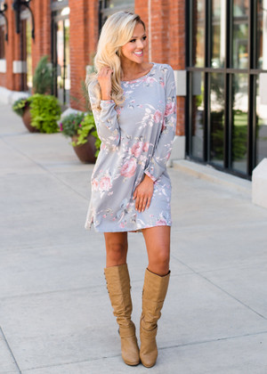 I Was Fine Before I Met You Floral Pocket Dress Gray