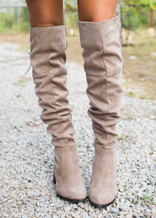 5f84dfb4192 ... Over the Knee Boots Taupe CLEARANCE. Image 1