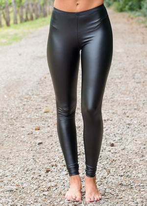 Shiny Black Pleather Leggings