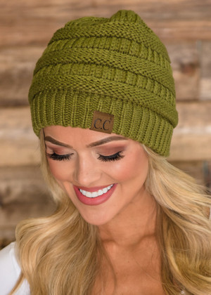 Slouchy Knit Beanie Moss CLEARANCE