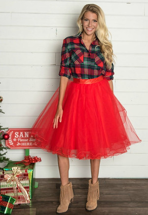Flirty in Red Tulle Skirt Christmas