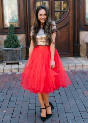 Flirty in Red Tulle Skirt Christmas