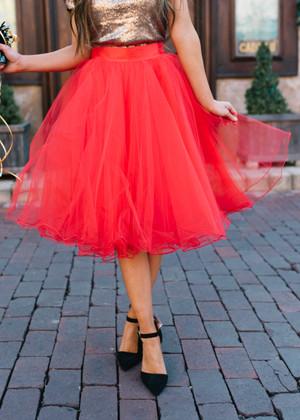Flirty in Red Tulle Skirt