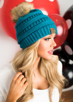Fur Ball Beanie Teal