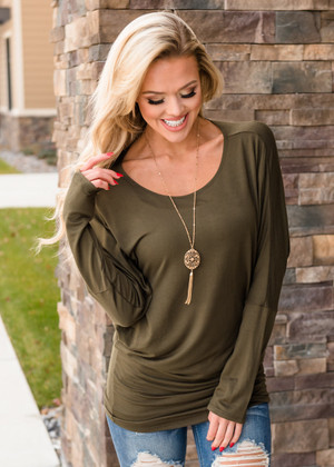 Soft and Perfect Dolman Top Olive