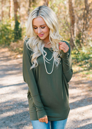 Soft and Perfect Dolman Top Olive CLEARANCE
