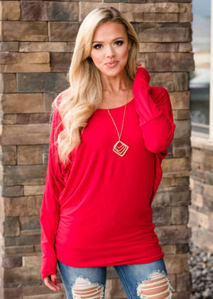 Soft and Perfect Dolman Top Rich Red