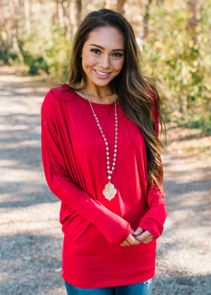 Soft and Perfect Dolman Top Rich Red CLEARANCE