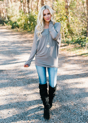(Cyber Monday) Soft and Perfect Dolman Top Mushroom