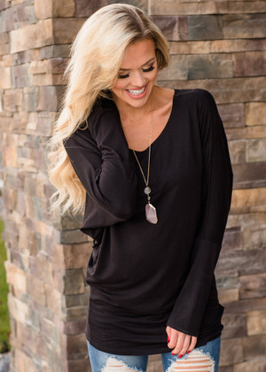Soft and Perfect Dolman Top Black CLEARANCE