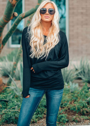Soft and Perfect Dolman Top Black